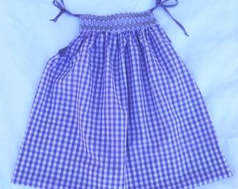 Purple Gingham Pillowcase Dress  --  OOAK 24MO-2T