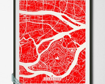 Guangzhou Print, China Poster, Guangzhou Map, Guangzhou Poster, China Print, China Map, Street Map, Map Print, Independence Day