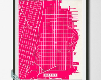 Hoboken Print, New Jersey Poster, Hoboken Poster, Hoboken Map, New Jersey Print, New Jersey Map, Hudson County, Street Map, 4th of July