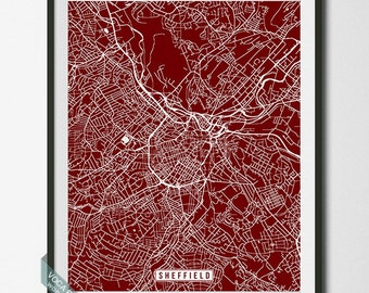 Sheffield Print, England Poster, Sheffield Poster, Sheffield Map, England Print, Street Map, England Map, Home Decor, Independence Day