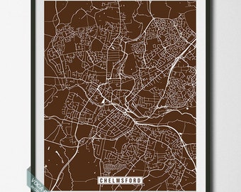 Chelmsford Print, England Poster, Chelmsford Poster, Chelmsford Map, England Print, Street Map, United Kingdom, Independence Day