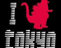 I Godzilla Tokyo Funny T-Shirt | I Heart Godzilla New Japan Graphic T Shirts. Mens / Adult.T-shirts