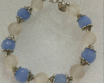 Cornflower Blue and Frosted Glass Beaded Bracelet