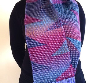 Handwoven soft and colourful wool scarf with geometric colour gradients