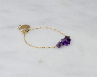 Amethyst Chip Bar Bracelet