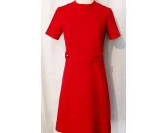 Stephan Casuals 60s Red Mod Dress with Pockets