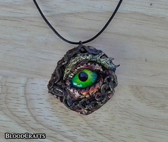 Red Dragon Eye fantasy scale serpent charm handmade pendant necklace