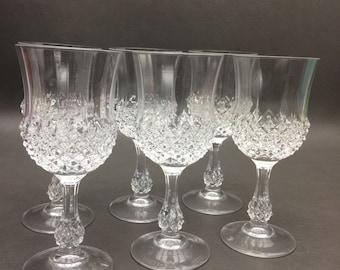 Vintage Oneida Crystal Wine Glasses Set of (6)