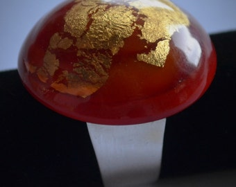 Ring with silver base and murano glass effetre handmade gold leaf