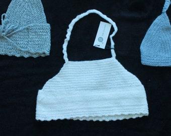 crocheted high neckline halter top