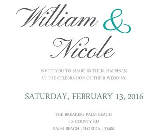 The Palm Beacher - Wedding Invitation Template (PDF Download)