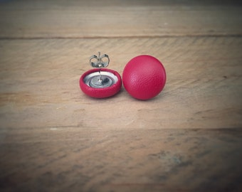 Red Faux Leatherette Earrings. Handmade Earrings. Fabric Button Earrings. Gifts For Her. Gifts Under 20. Stud Earrings. Clip On Earrings.