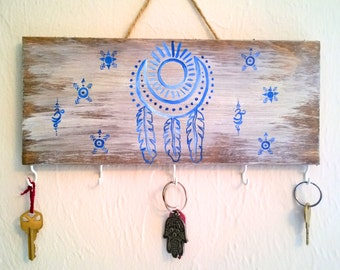 Moon Necklace Holder / Sun and Moon / Key Holder / Jewelry Organizer / Blue Sign / Necklace Display / Key Hook / Boho Decor / Wood Signs