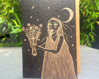 Molly - 100% recycled A6 grey greeting card