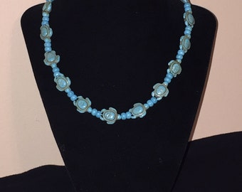 Beaded Turtle Necklace - Turquoise.  A perfect additon to your nautical collection!