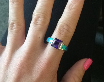 Purple Amethyst and Blue Fire Opal Ring