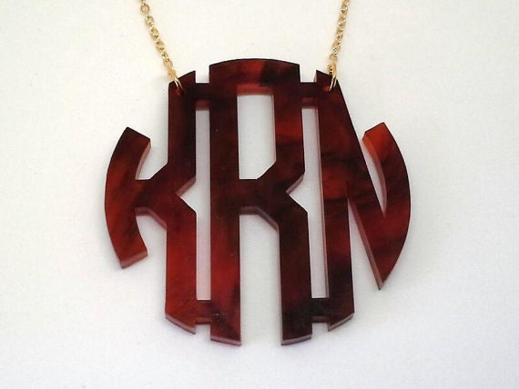 "2"" Acrylic Monogram Necklace"