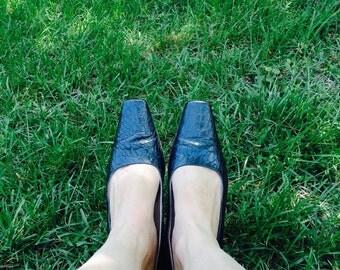 Vintage Escada Shoe, Vintage 90's Shoe, Wing Tip Shoe, Leather Escada Shoe, Vintage 90's Escada Leather Shoe