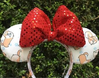 White Corgi Mouse Ears with Tan Bow, Minnie Mouse Ears