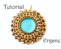 Tutorial Aztec Sun Pendant, Beading Tutorial, Beading Pattern, Pendant Beading Tutorial, Beaded Jewelry, Ergane Beading
