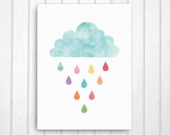 Nursery Canvas Art, Playroom Art, Rain Cloud Canvas Wall Decor, Cloud Print, Cloud Art, Nursery Decor, Nursery Art, Child Room Art