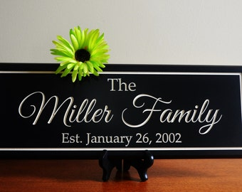Established Family Name Sign Engraved Sign Personalized Family Name Sign Custom Wood Sign Personalized Anniversary Sign Custom Wall Decor