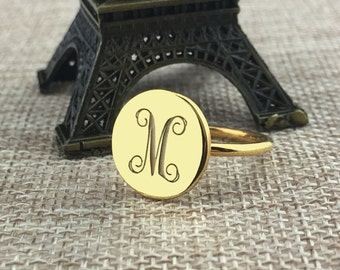 Monogram Ring Gold,Engraved Monogram Ring,Personalized Initial Ring, Gold Dish ring,Bridesmaid Ring,monogrammed gifts