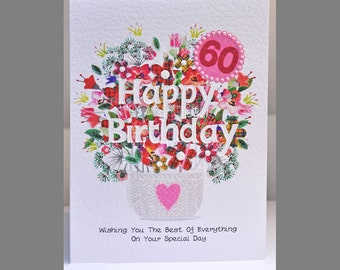 Special Wishes Large Birthday Flower Basket 60 Card SW BI01
