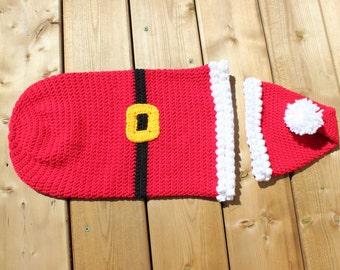 IN STOCK- Santa Cocoon with Hat Newborn, Christmas Photo Prop, Santa Bunting, Baby Santa