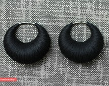 Earrings for tunnels and plugs. Boho style. Eco design. Tribal earring. Solid pure black. Ear weights.