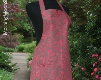 Woodland FULL APRON, shadow print leaves botanical, coral pink brown gray, retro DESIGNER cotton, vintage kitchen gift, Beautiful Boho