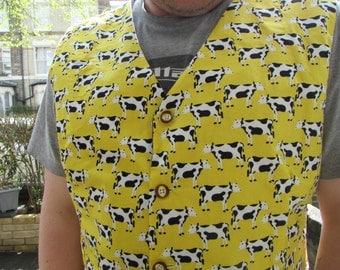 Handmade cow print fully lined waistcoat.