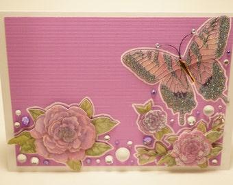 Handmade Lavender Embellished Floral Butterfly Card