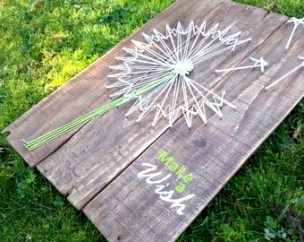 Dandelion String art Make a Wish, Pallet sign, inspirational sign,  pallet art, Dandelion art, Rustic wood, Motivational sign, wall art