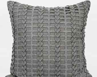 """Luxury Dark Gray Handmade Textured Pillow Cover 18""""X18"""""""