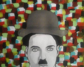 Charlie Chaplin , acrylique on Monval paper 30x40.