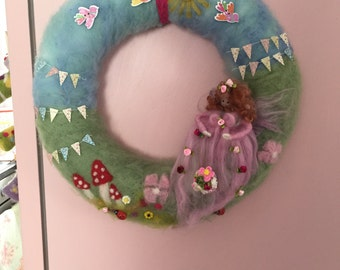 Needle felt fairy wreath