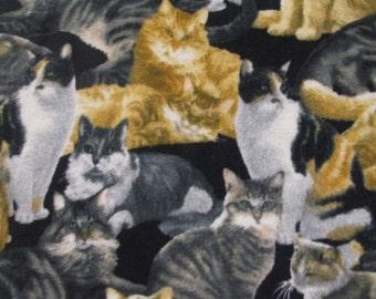 Cat Fleece Fabric Tiger Tabby Calico.