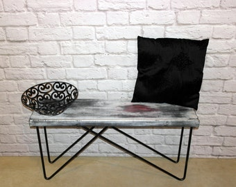 Abstract art, bench, coffeetable, wood bench, wood table, hairpin legs, hairpin table, hairpin bench, industrial, metal, condo furniture