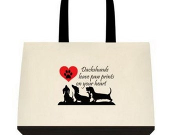 Dachshunds Leave Paw Prints on Your Heart Tote