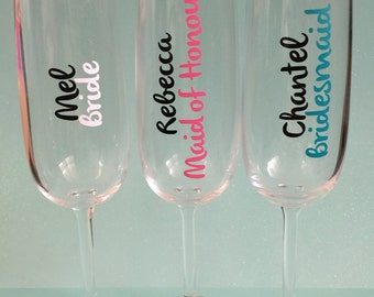 DIY Bridal Party With Name Flute Glass Decal