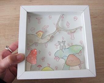 Mushrooms - Frame embossed - paper cut
