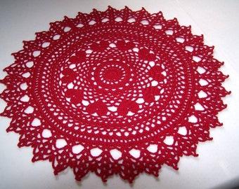 Romantic Valentine Ring of Hearts Crochet Doily Pattern PDF