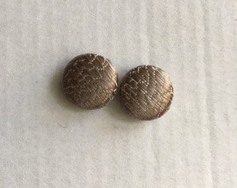 12mm Brown Shimmer Textured Fabric Studs