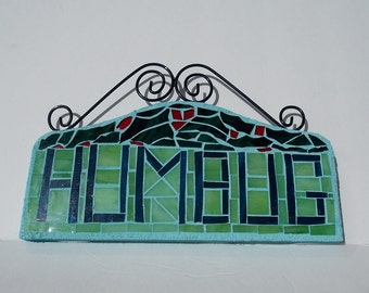 Stained Glass Mosaic Wall Art of Christmas Humbug for your Holidays