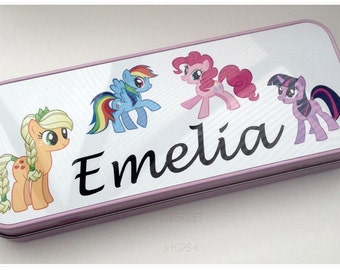 My Little Pony PERSONALISED ANY NAME Girls Retro Tin Pink Pencil Case School Nursery Gift