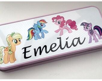 My Little Pony personalizado cualquier nombre niñas Retro lata rosa lápiz caso escuela infantil regalo