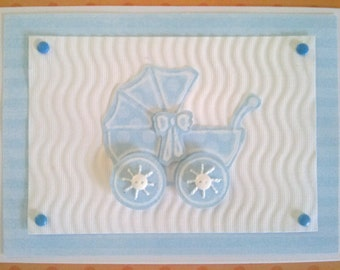 Baby Boy Buggy Handmade Embossed Baby Shower Invitation/Birth Announcement