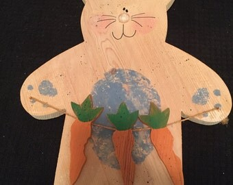 Wooden Bunny with Carrots Wall Decor - Easter Decor