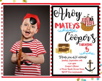 Pirate Birthday Party Invitation, Personalised Printable, Pirates Invitation, Boy Birthday Invite, Baby Boy Bday. DIY Digital Printable